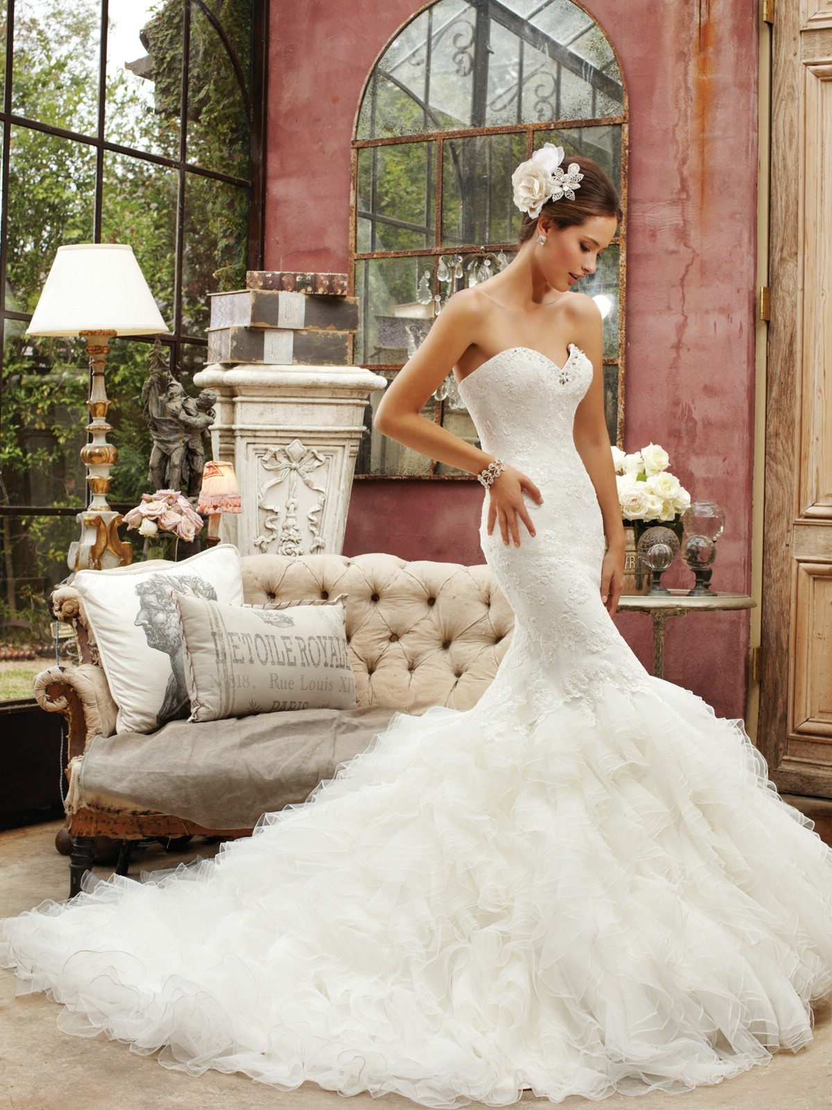 sweetheart chapel train organza mermaid wedding dress