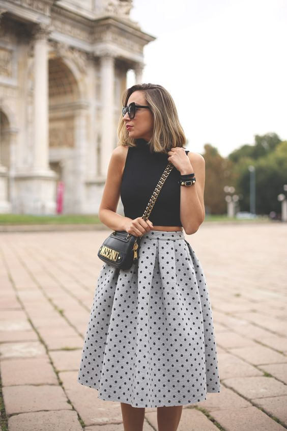 Black-Crop-Top-and-Polka-Dot-Skirt