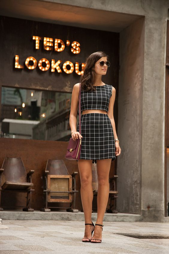 Plaid-Crop-Top-and-Skirt