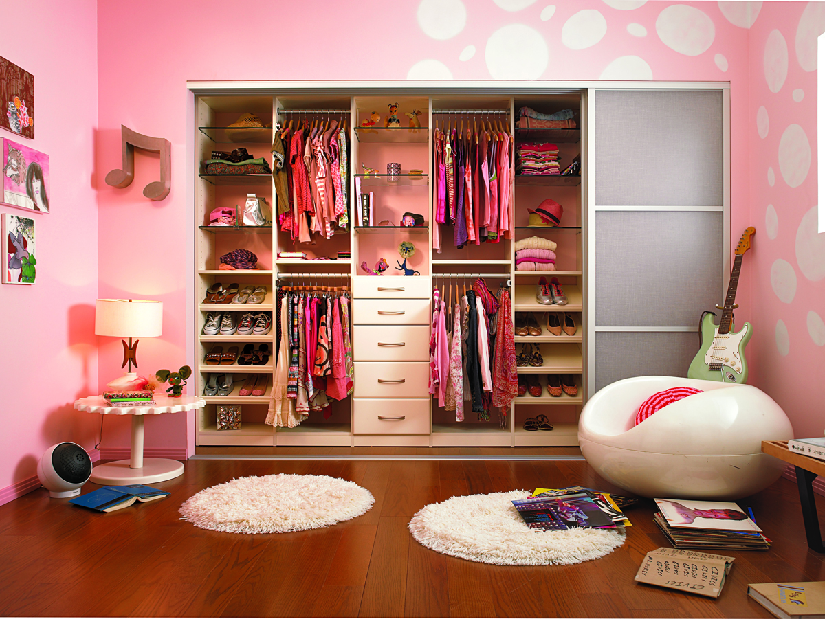 Trendy Colorful Walk In Closet Design