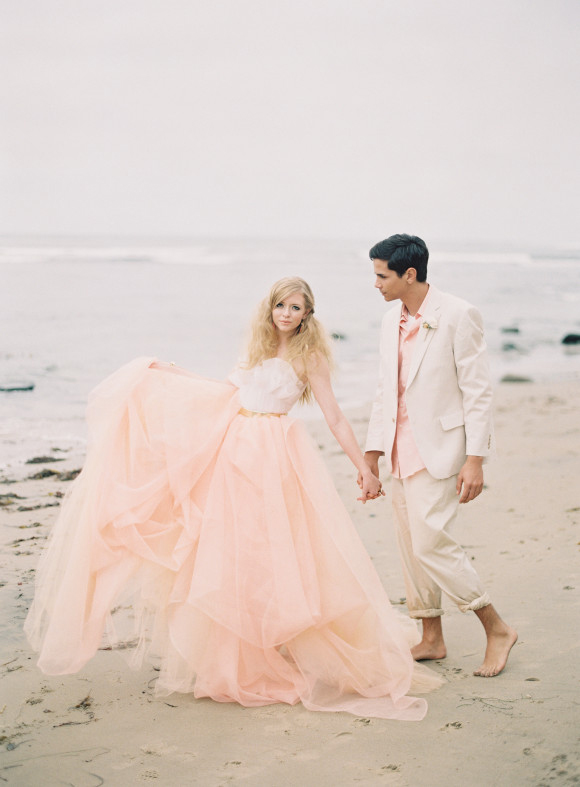 Blush-and-White-Bridal-Gown