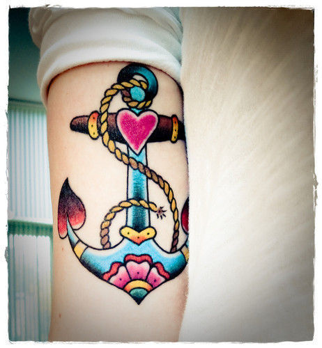 Anchor and heart tattoos designs for inner arm