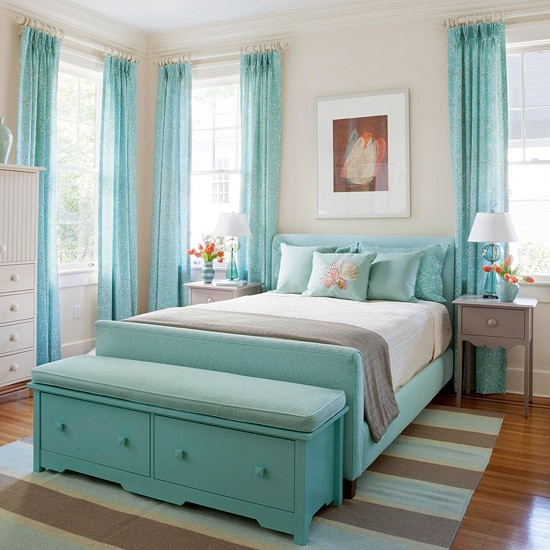 Take a Look at These Beautiful Turquoise And White Bedroom ...
