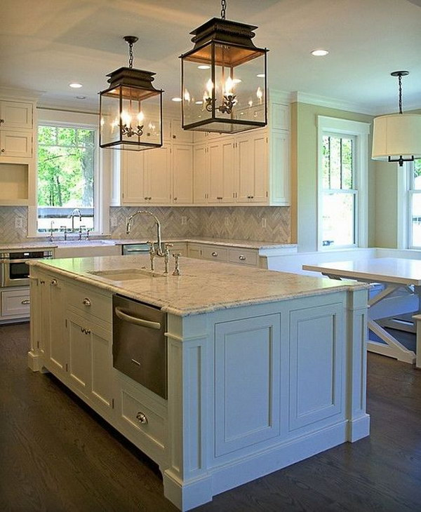 Traditional Kitchen with A Pair of Glass Pendant Lanterns