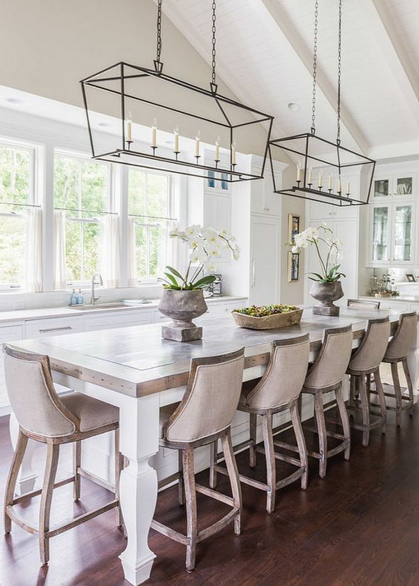 Vintage Kitchen Design with Glass Iron Pendant Lights