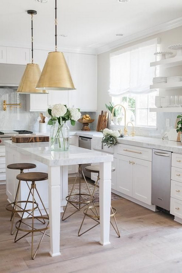 White Kitchen with Two Goodman Hanging Lamps in Antique Brass
